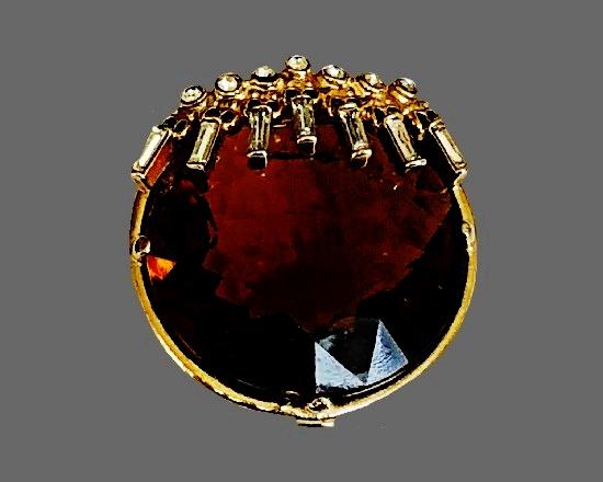 Brown rhinestone gold tone pin