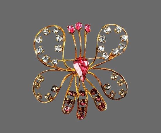 Butterfly 12 K gold filled rhinestones brooch