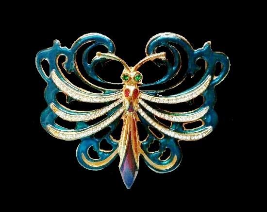 Butterfly brooch pendant. Gold plated metal alloy, enamel, rhinestones