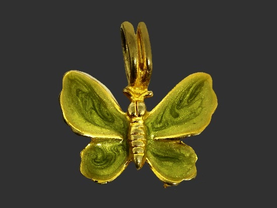 Butterfly gold tone green enamel pendant