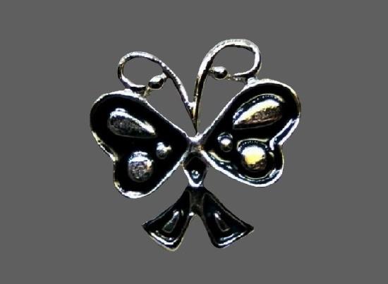 Butterfly lapel pin. Silver tone metal, enamel