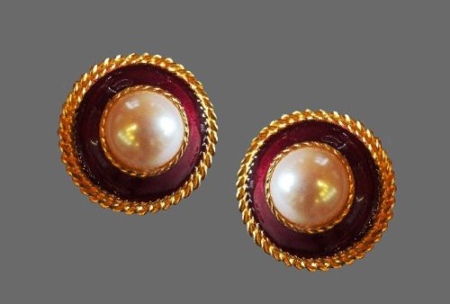 Button shaped Clip on Earrings. Gold plated metal, faux pearl, enamel