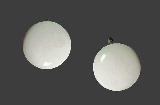 Button shaped white fine bone china screw back earrings