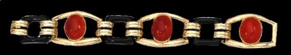 Carnelian cabochons lacquer bracelet. 1930s