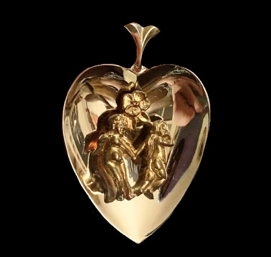 Cherab heart pendant. Gold, sterling silver
