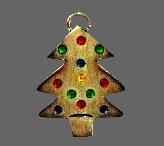 Christmas tree pendant. Sterling silver, glass beads