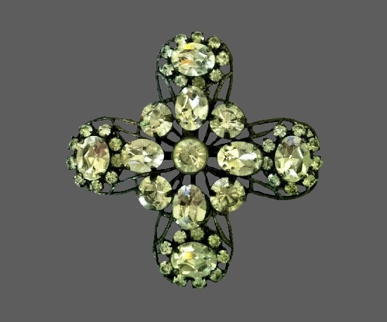 Clear crystal silver plated cross brooch pendant