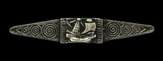 Commemorative sterling silver brooch in celebration of 15th Century French Fleet. 5cm. 1950s