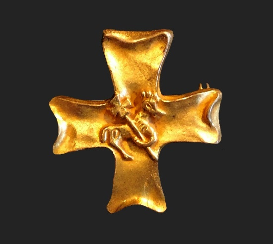 Cross gold plated brooch, designed by Paule Ingrand