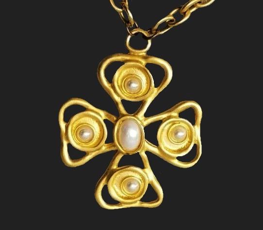 Cross gold tone faux pearl pendant