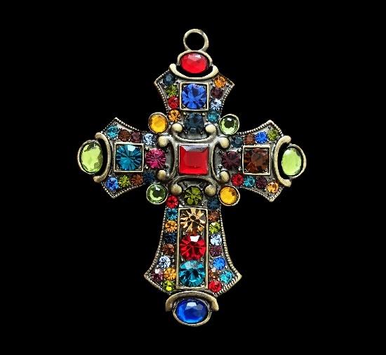 Cross pendant. Multicolor rhinestones, gold tone
