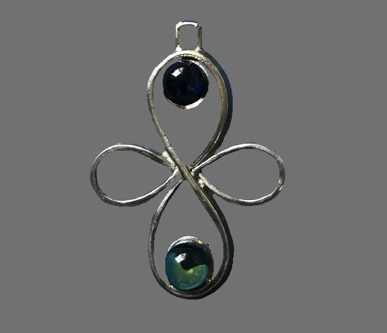 Cross pendant. Sterling silver, art glass