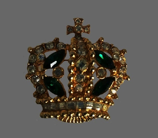 Crown brooch. Gold tone alloy, green and clear rhinestones