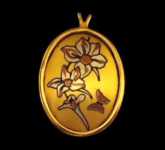 Daffodills and butterfly necklace, Damascene collection