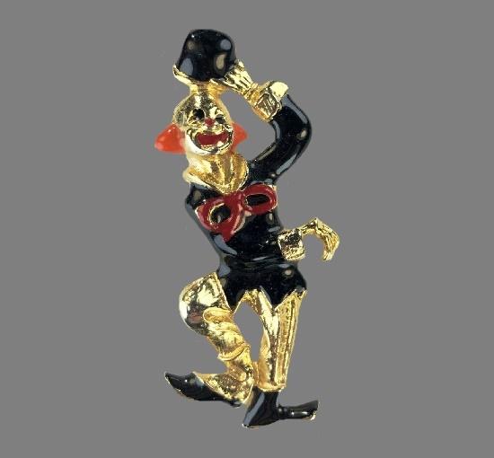 Dancing Clown brooch. Gold tone metal alloy, enamel. 7.3 cm. 1960s