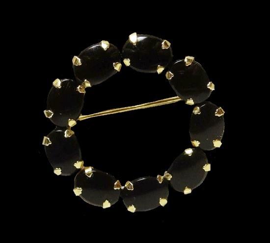 Dark tourmaline stone 12 K gold filled circle pin