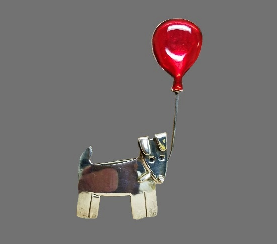 Dog with red balloon vintage brooch. Sterling silver, enamel
