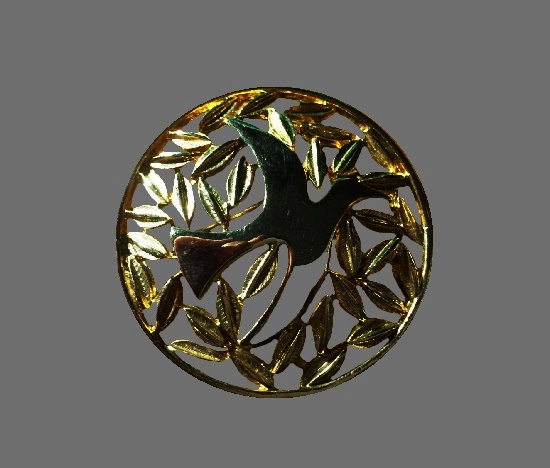 Dove leaves silver and gold plated textured metal brooch. 1990s