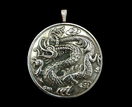 Dragon Ming mirror pendant. Sterling silver. 1970s
