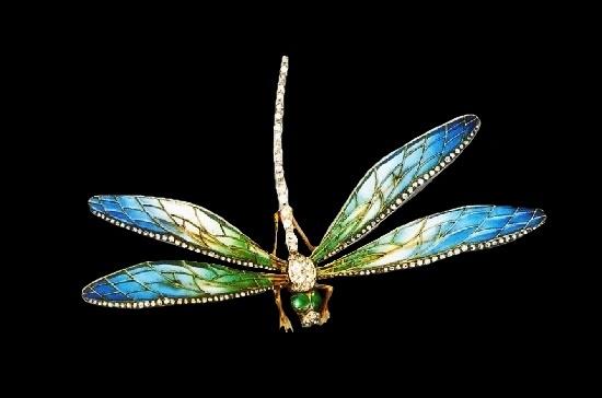 Dragonfly brooch, Gold, enamel, diamonds