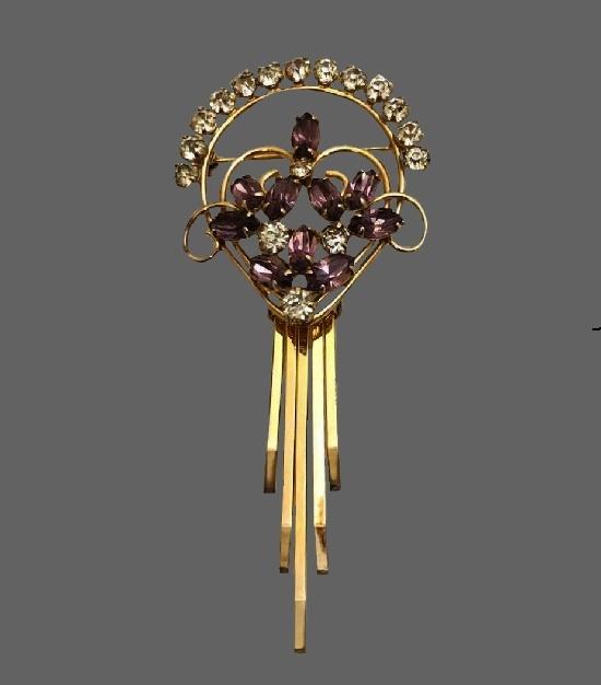 Drop dangle flower brooch. 12 K gold filled purple rhinestone