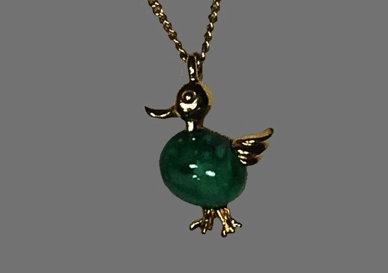 Duck pendant. Green glass cabochon, gold tone metal. 1980