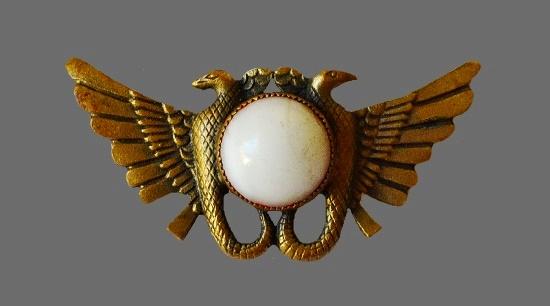 Egyptian motif brooch. Gold tone, art glass