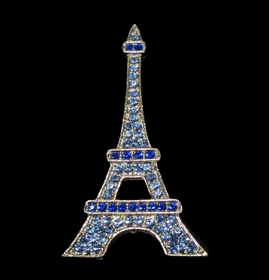Eiffel Tower pin. Blue crystals, silver tone alloy