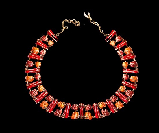 Enameled gold tone necklace. 2.2 cm wide. 1980s