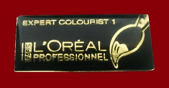 Expert colourist badge. Gold tone, enamel