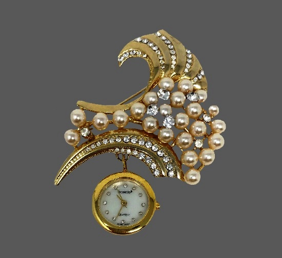 Faux pearls rhinestones gold tone brooch with watches
