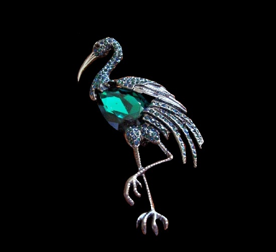 Flamingo emerald green rhinestones brooch