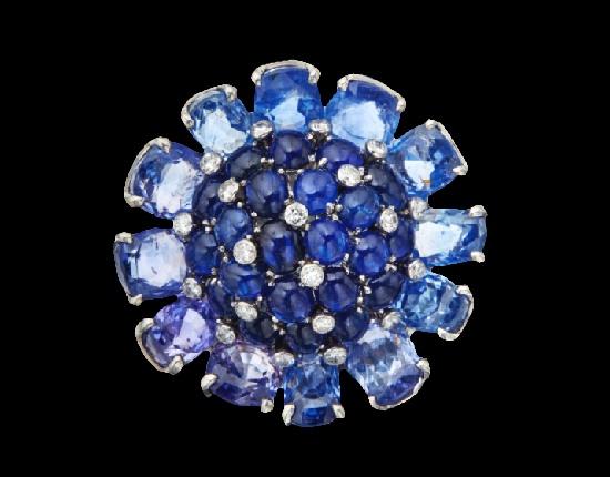 Flower head clip brooch. Sapphire, diamond. Circa 1955
