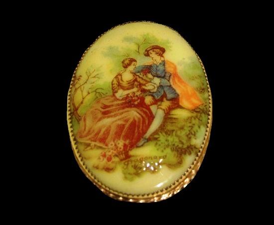 Fragonard miniature painting oval shaped brooch. Handpainted porcelain, 12 K gold filled