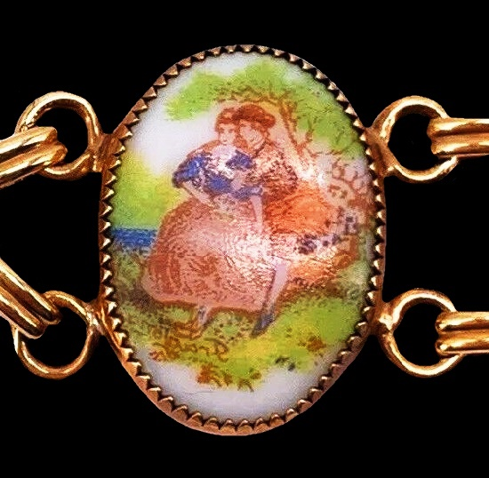 Fragonard paintings 12 K gold filled bracelet, detail