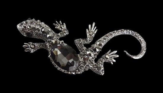 Gecko lizard silver tone rhinestones brooch