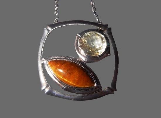 Geometric design pendant. Sterling silver, tiger eye, citrine