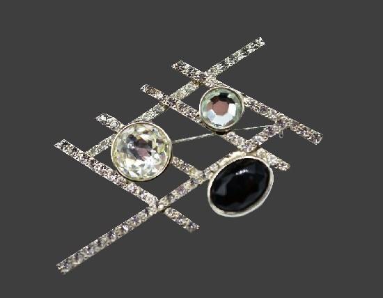 Geometric design silver tone rhinestones brooch