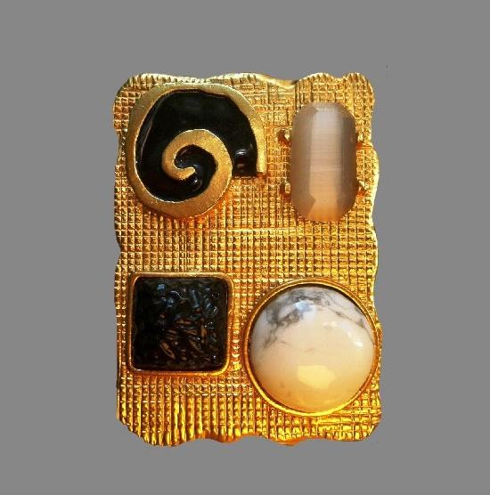 Geometric fantasy design pendant. Gold plated metal alloy, art glass, enamel. 6 cm