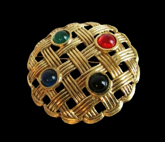 Glass cabochons gold tone metal brooch. 4 cm