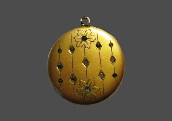 Gold filled floral design rhinestones locket pendant. 1930s