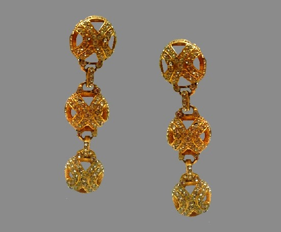 Gold plated rhinestone clip on earrings