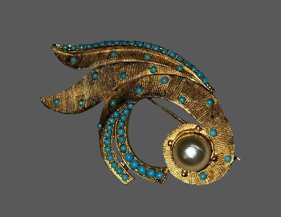 Gold tone metal textured metal, faux turquoise and pearl brooch. 1960s