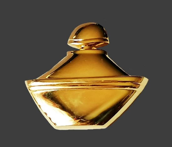 Golden perfume bottles brooch. 4.5 cm. 1980s