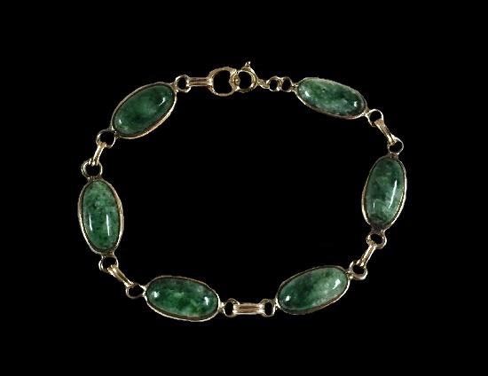 Green jade 12 K gold filled bracelet