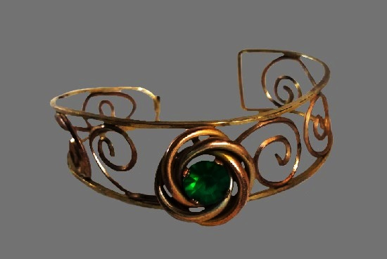 Green rhinestone 12 K gold filled bracelet. 1950s