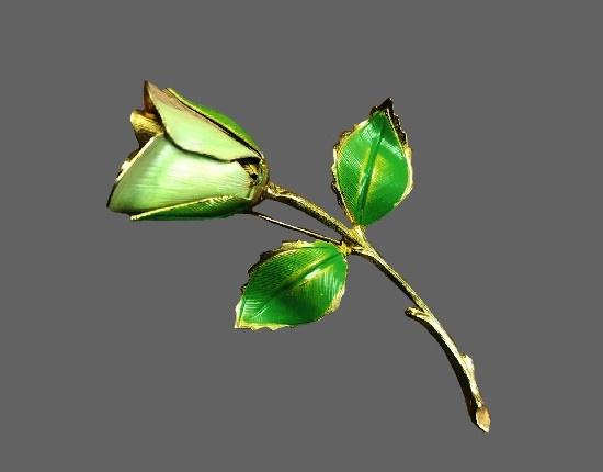 Green rose gold tone brooch