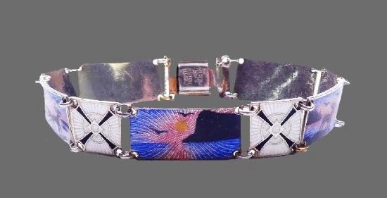 Guilloche enamel handpainted sterling silver bracelet