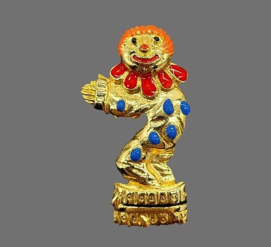 Happy clown gold tone enamel brooch