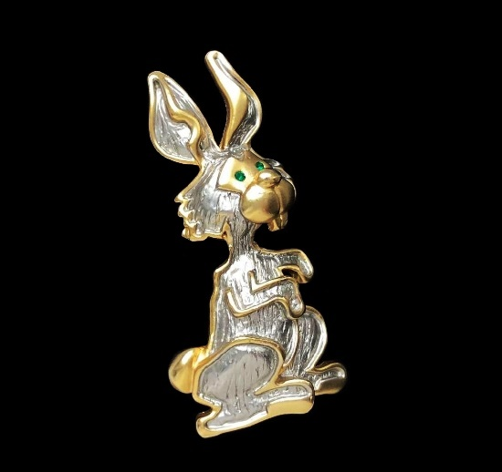 Hare rabbit Easter brooch. Silver, 18 K gold plated. 6 cm. 1980s